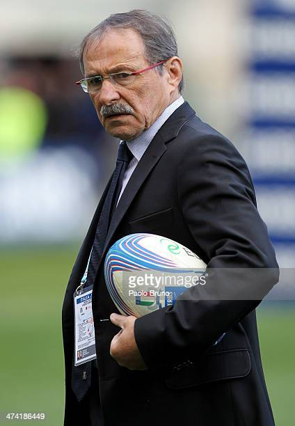 Italy head coach Jacques Brunel looks on during the RBS Six Nations match between Italy and Scotland at Stadio Olimpico on February 22 2014 in Rome...