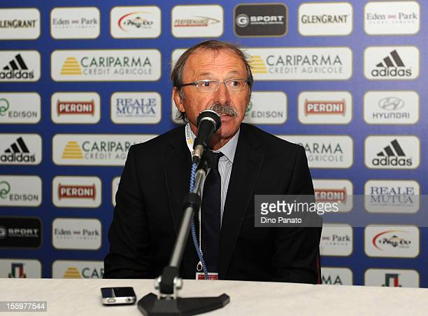 Italy head coach Jacques Brunel speak to the media during a press conference after the international test match between Italy and Tonga at Mario...