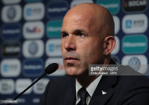 Italy head coach Luigi Di Biagio speaks with the media during the press conference at the end of the 2019 UEFA U-21 Group A match between Belgium and...
