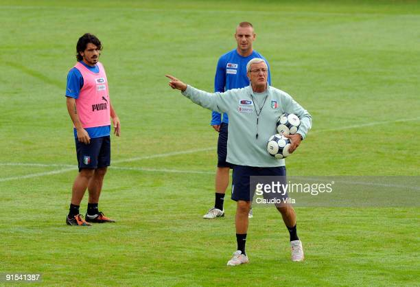 Italy Head Coach Marcello Lippi Daniele De Rossi and Gennaro Gattuso during the training at Coverciano on October 7 2009 in Florence Italy