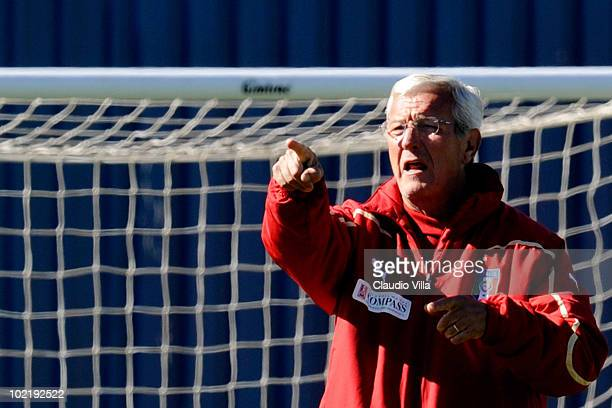 Italy head coach Marcello Lippi leads an Italy training session ahead of their 2010 FIFA World Cup Group Stage Round 2 match against New Zealand on...