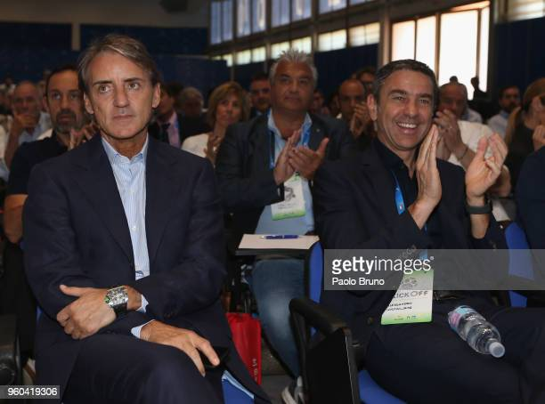 Italy head coach Roberto Mancini and FIGC Vice Commisioner Alessandro Costacurta attend the Italian Football Federation 'KickOff' seminar at 'centro...