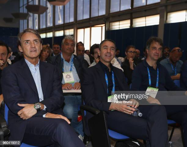 Italy head coach Roberto Mancini and FIGC Vice Commisioner Alessandro Costacurta and General Director Michele Uva attend the Italian Football...