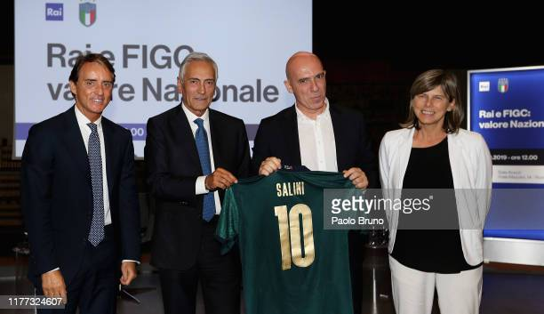 Italy head coach Roberto Mancini FIGC President Gabriele Gravina Italy Women head coach Milena Bertolini and RAI Ceo Fabrizio Salini pose during the...