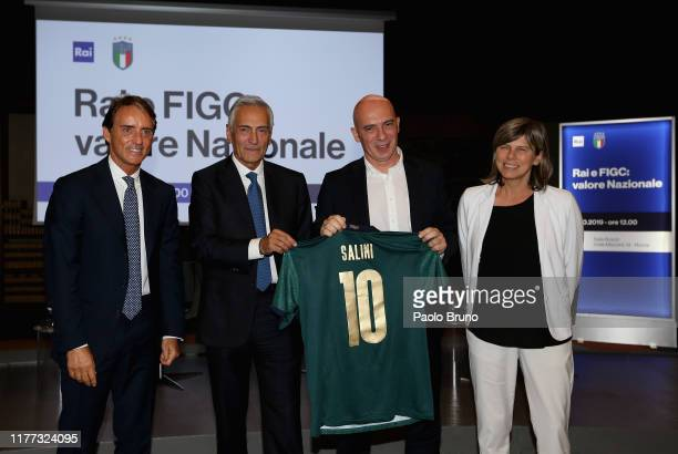 Italy head coach Roberto Mancini FIGC President Gabriele Gravina RAI Ceo Fabrizio Salini and Italy Women head coach Milena Bertolini pose during the...