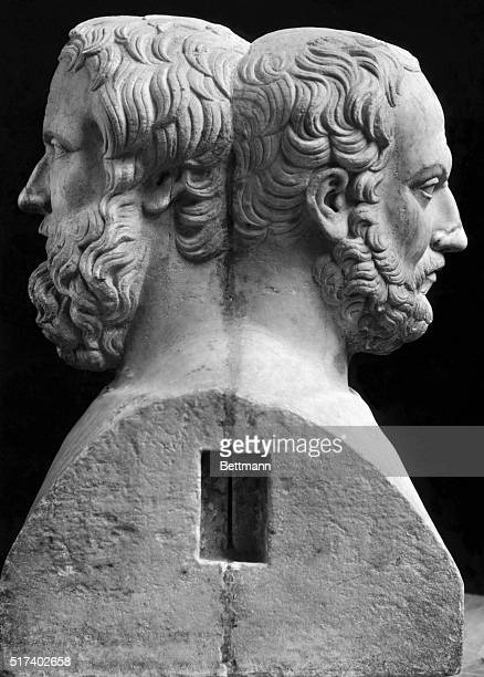 Herodotus and Thucydides Greek historians Double statue Museum Nationale Naples