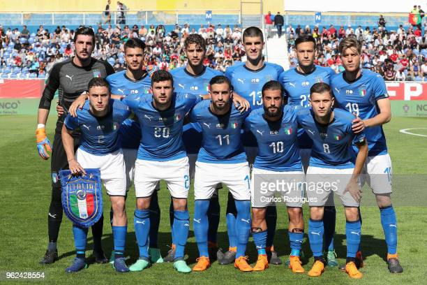 Italy initial team during the International Friendly match between Portugal U21 and Italy U21 at Estadio Antonio Coimbra da Mota on May 24 2018 in...