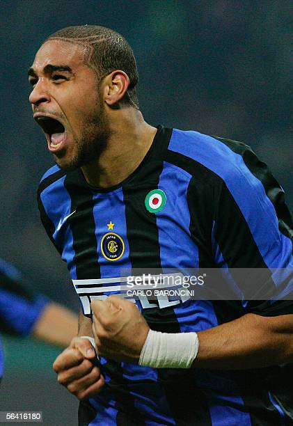Inter Milan's forward Adriano of Brazil celebrates after scoring the winning goal during their italian serie A football match at San Siro stadium in...