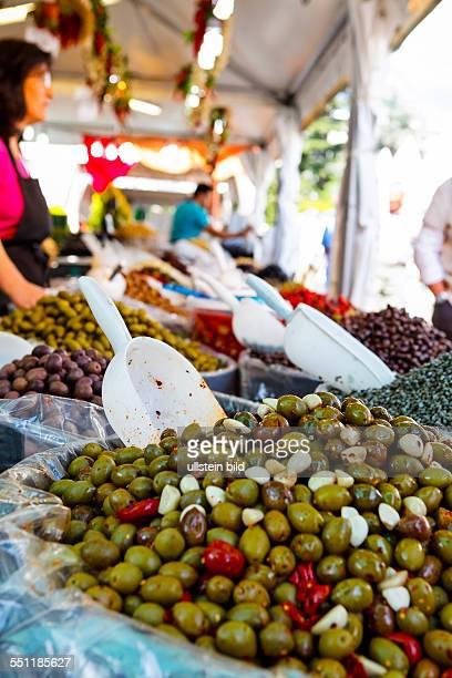 Italy Italia Alto Adige South Tyrol Provincia di Bolzano Merano Passeggiata lungo Passirio mercatino del buon gustaio gourmet market olives