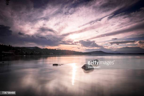 Italy, Lago Viverone at sunset