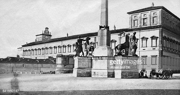 Italy Latium Lazio Rom Roma Rome Piazza del Quirinale with fountain and Quirinale Obelisk in the background the Quirinale Palace date unknown around...