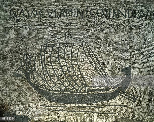 Italy Latium region Ostia Rome province Forum of Corporations Phoenician style sailing ship Mosaic