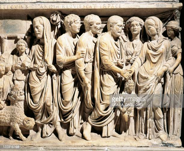 Italy Latium region Rome Basilica of San Lorenzo fuori le Mura Tomb of Cardinal Fieschi Roman marble sarcophagus 3rd century AD with a relief...