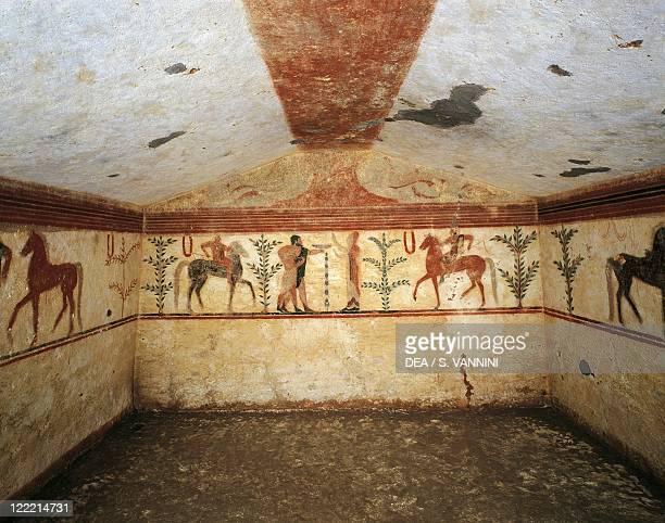 Italy Latium region Tarquinia Etruscan necropolis Tomb of the Baron fresco depicting men and horses 6th century bC
