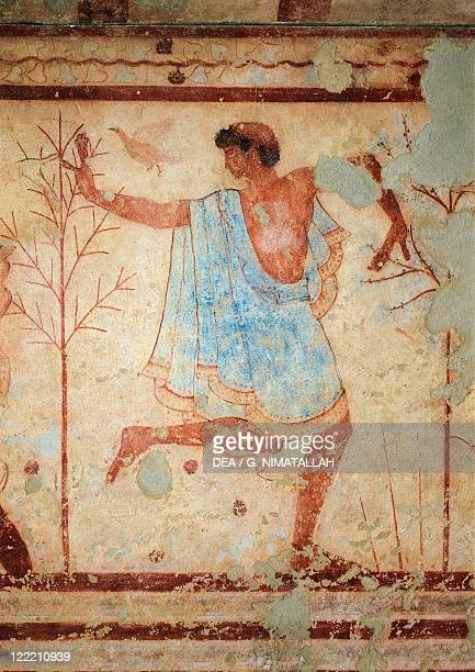 Italy Latium region Tarquinia Etruscan necropolis Tomb of the Triclinium Detail of fresco depicting a dancer 5th century bC
