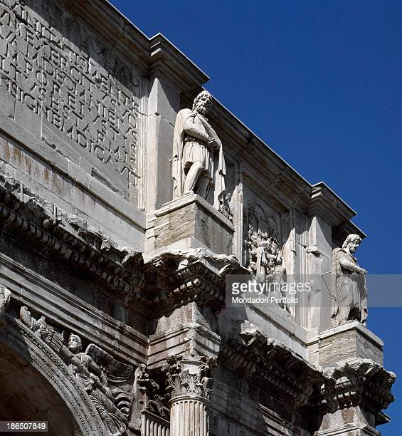Italy Latium Rome Detail View of the Arch of Constantine statue of Dacian captives on the plinths of the attic