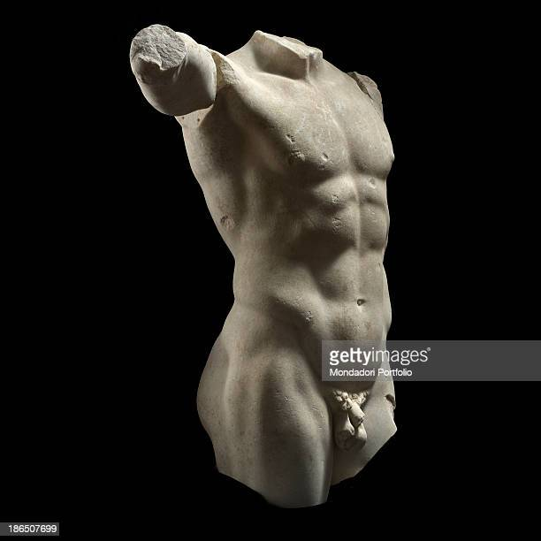 Italy Latium Tivoli Sanctuary of Hercule Victor Whole artwork view The man torso is missing arm legs and head The body anatomy is carefully studied...