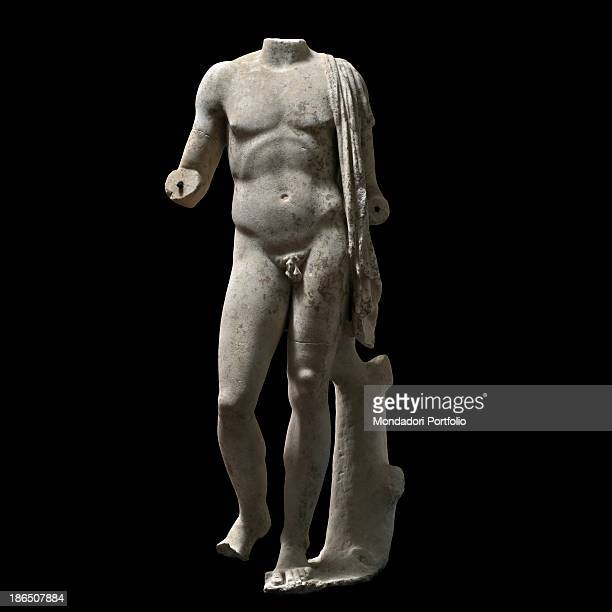 Italy Latium Tivoli Sanctuary of Hercules Victor Whole artwork view The headless statue represents a naked male The composition is based on an...
