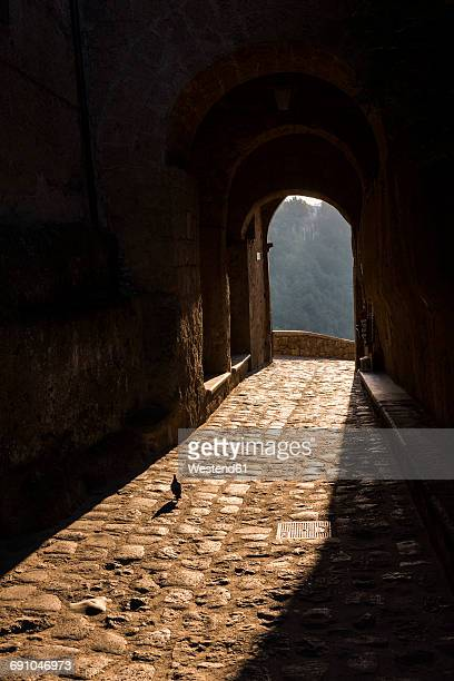 italy, lazio, archway at civita di bagnoregio by sunset - civita di bagnoregio foto e immagini stock
