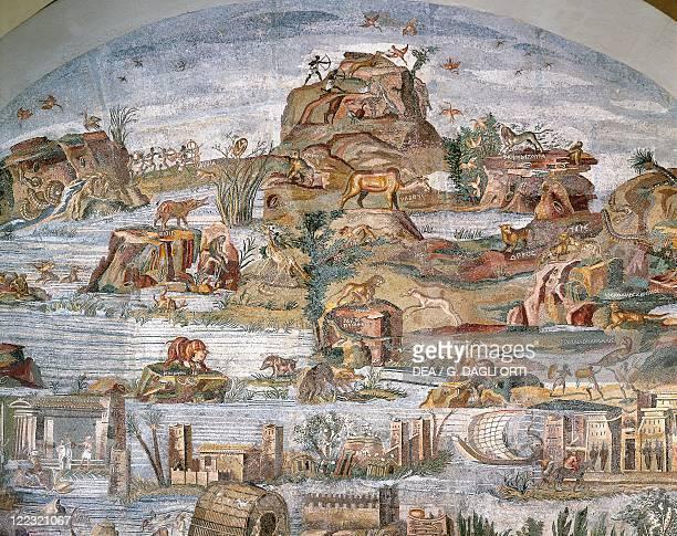 Italy Lazio Palestrina Sanctuary at Praeneste Mosaic work depicting a Nilotic scene