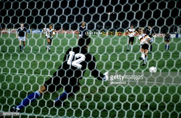 Italy Lazio Roma 1990 FIFA World Cup Italy final Germany v Argentina 10 Andreas Brehme scoring decisive goal with a penalty past goalkeeper Sergio...