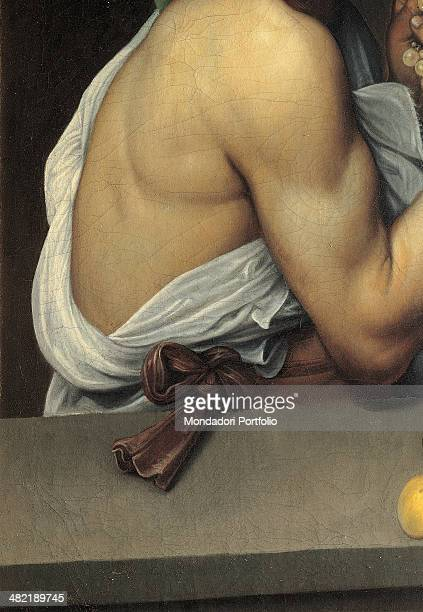 Italy Lazio Rome Borghese Gallery Detail Back shoulder and forearm of the young Bacchus