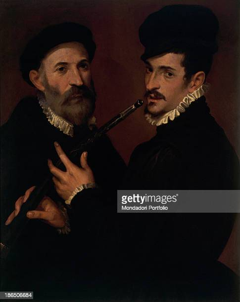Italy Lazio Rome Capitolini Museums Whole artwork view Halflength portrait of two men elegantely dressed The character on the right of the...