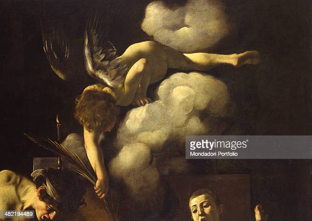 Italy Lazio Rome Church of Saint Luigi dei Francesi Deatil Detail of St The angel offering the palm of martyrdom