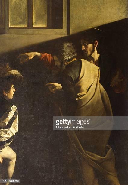Italy Lazio Rome Church of Saint Luigi dei Francesi Detail Jesus points Matthew and Peter repeats the gesture