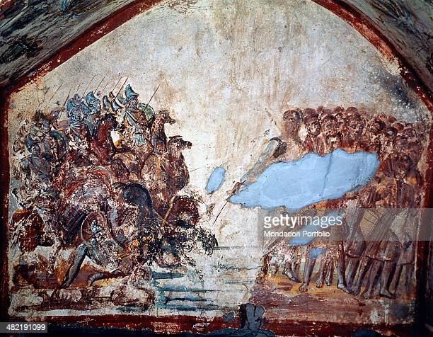 Italy Lazio Rome Ipogeo di Via Latina Whole artwork view Fragment of a fresco on the left the Egyptian army of the Pharaoh overwhelmed by the water...
