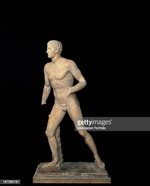 Italy Lazio Rome Musei Capitolini All Profile of a male statue representing a virile athlete busy in the javeling throwing typical sports of ancients...