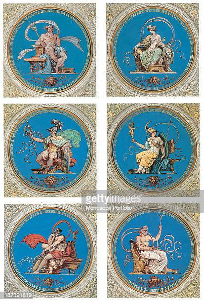 Italy Lazio Rome Palazzo del Quirinale Decoration of the vault with tondos with golden and Wedgwood blue frames portraying the six tutelary gods of...