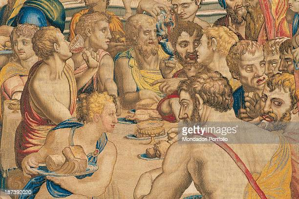 Italy Lazio Rome Palazzo del Quirinale Detail Joseph and his brothers attend a banquet sitting at the table with halfnaked servants carrying plates...