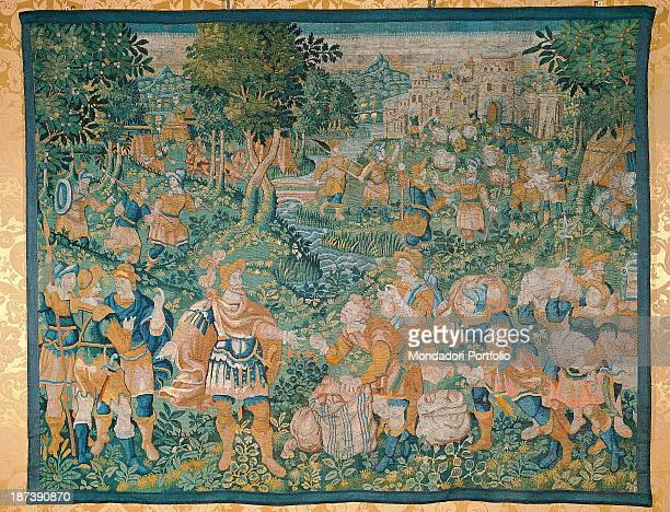 Italy Lazio Rome Palazzo Koch All A scene from the Bible Melchisedec offering bread and wine to Abraham who is wearing his military dress because he...