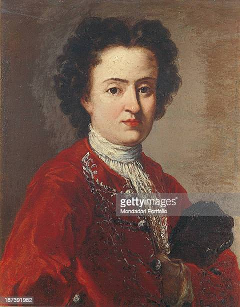 Italy Lazio Rome Private collection Noble with a red velvet frock coat and white shirt with tie lace Buttons and embroidery in silver Look deep and...