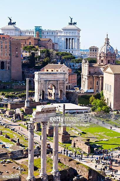 Italy, Lazio, Rome, Roman Forum and Monument of Vittorio Emanuele II against sky