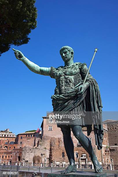 Italy Lazio Rome Statue of Emperor Trajan in front of Trajans Forum