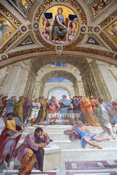 Italy Lazio Rome Vatican City Museum Room of The Signatura 16th Century fresco by Raphael called the School of Athens representing the truth acquired...