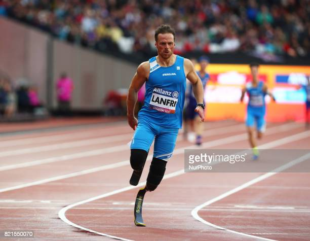 Italy Lenfri last leg runner compete Men's 4 x 100m Relay T4247 during World Para Athletics Championships at London Stadium in London on July 23 2017