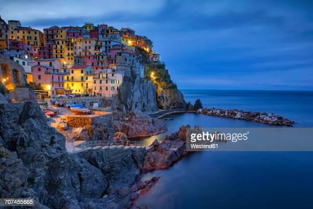 Italy, Liguria, Cinque Terre, Manarola at dawn