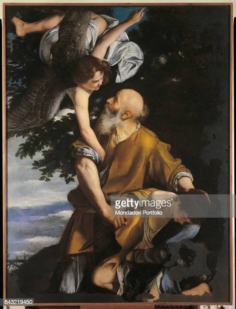 Italy Liguria Genoa Galleria nazionale di palazzo Spinola Whole artwork view An angel sent by the Lord stopping Abraham who's holding a knife in...