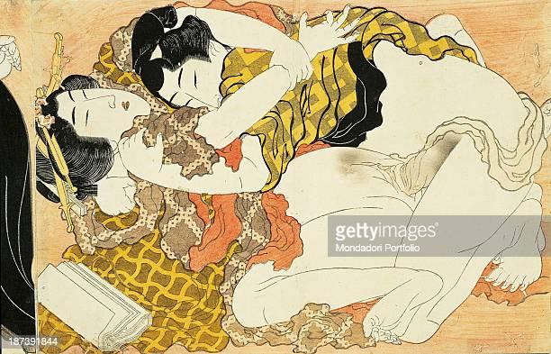 Italy Liguria Genoa Museo d'Arte Orientale Edoardo Chiossone All A man wearing a yellow kimono and a woman have sex near some paper leaves