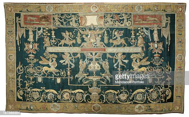 Italy Liguria Genoa Palazzo Rosso Galleria All All Tapestry with Mars and grotesque figures with phytomorphic volutes on a green background