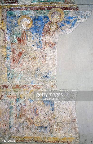 Italy, Liguria, Genoa, Parrish Church in Saint Maria della Cella. Whole artwork view. Incomplete fresco on two levels depicting the Flight into Egypt...