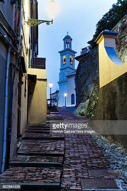 Italy, Liguria, Genoa, St Antonio Church at end of alley