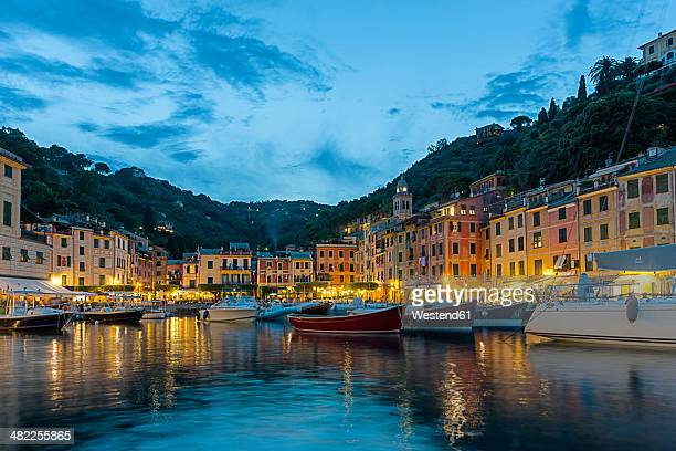 Italy, Liguria, Portofino, Boats in harbour at blue hour