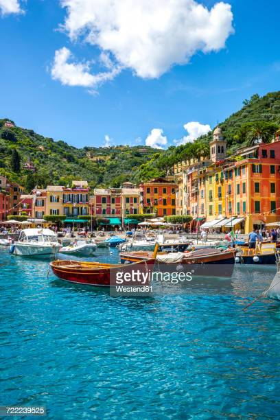italy, liguria, portofino, moored boats - liguria stock photos and pictures