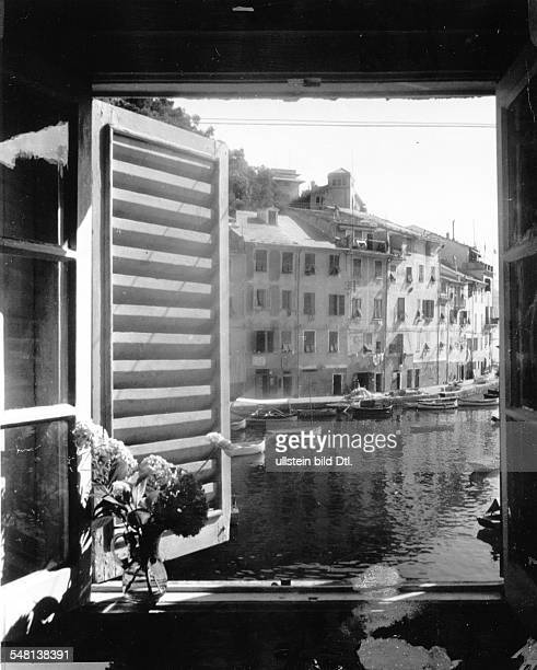 Italy Liguria Portofino View out of a window of the port of Portofino 1941 Photographer Regine Relang Published by 'Die Dame' 9/1941 Vintage property...