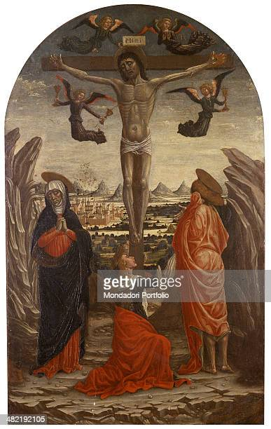 Italy Liguria Savona Civic Museum Whole artwork view Crucifixion with Mary and John standing at both sides of the Cross and Mary Magdalene in the...
