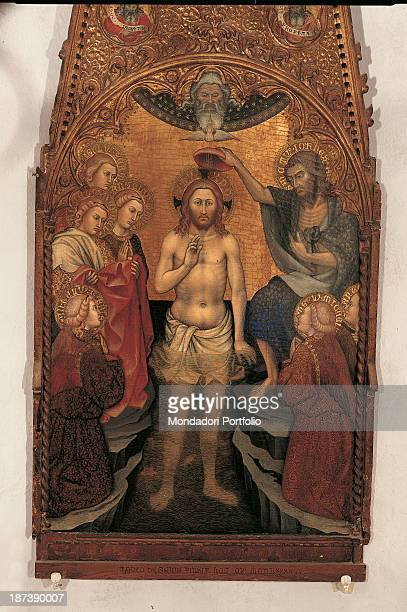 Italy, Liguria, Triora, Chiesa parrocchiale, All, Jesus Christ being baptized by Saint John the baptist in the Jordan river, with the dove of the...